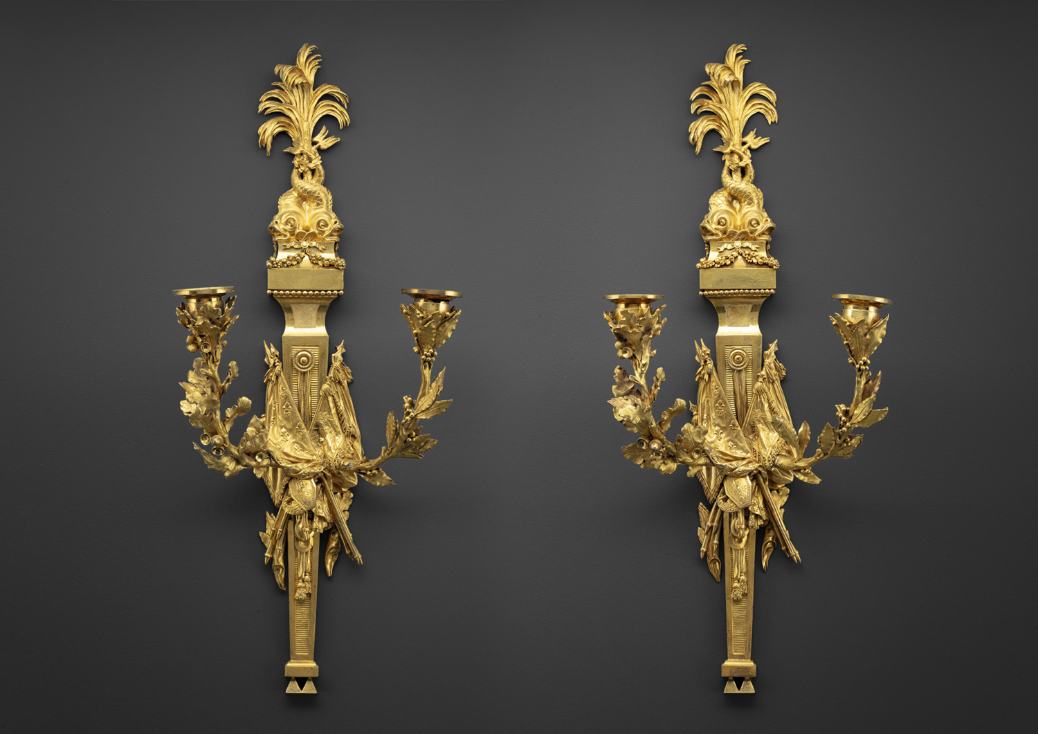 Pair of two-light gilt bronze wall sconces - Galerie Kugel